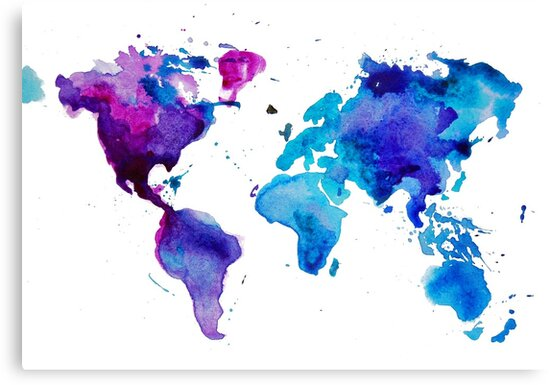 \'Watercolor Map of the World\' Canvas Print by ychty
