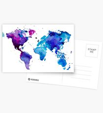 Watercolor Map of the World Postcards