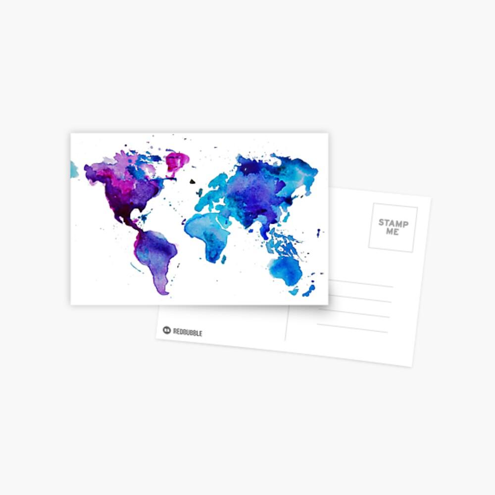 Aquarell Karte der Welt Postkarte