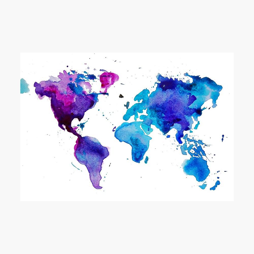 Aquarell Karte der Welt Fotodruck