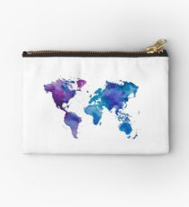 Watercolor Map of the World Studio Pouch