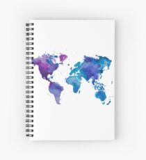 Watercolor Map of the World Spiral Notebook