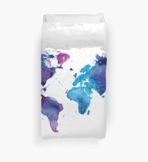 Watercolor Map of the World Duvet Cover