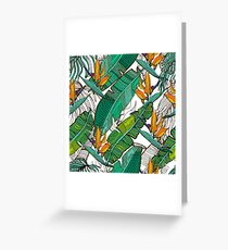 Cute tropical background. Banana and palm leaves, tropical flowers. Greeting Card