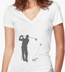 Playing golf seems to be relaxing (light shirt) Women's Fitted V-Neck T-Shirt
