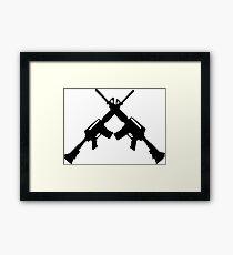 Machine Guns Crossed, Silhouette Framed Print