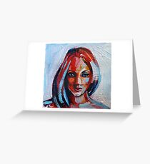 Acrylic painting portrait of beautiful girl in red, blue and yellow colors Greeting Card