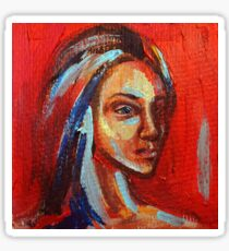 Acrylic painting portrait of beautiful girl in red, blue and yellow colors Sticker