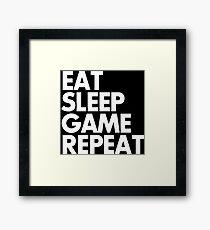 EAT SLEEP GAME REPEAT funny slogan saying gamer humor everyday Framed Print