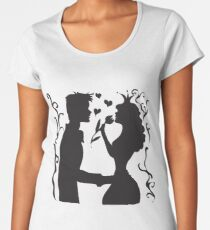 Hand drawn sketch black and white silhouette a princess with a tulip and a prince. Women's Premium T-Shirt