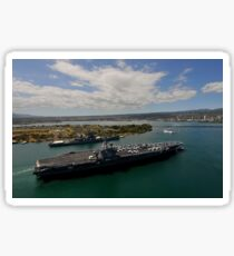 USS Carl Vinson passes the USS Missouri Memorial in Pearl Harbor. Sticker