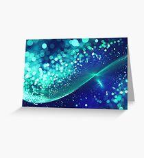 Aqua Blue Glitter Wave Greeting Card