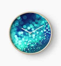 Aqua Blue Glitter Wave Clock