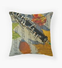 Sunlit Oboe and Sheet Music in Autumn Throw Pillow