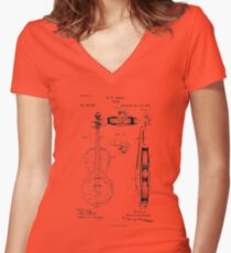 Violin player Violinist Gift Play Violin  Women's Fitted V-Neck T-Shirt