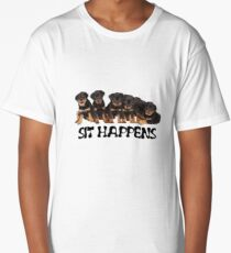 Sit Happens For Six Rottweiler Puppies Long T-Shirt