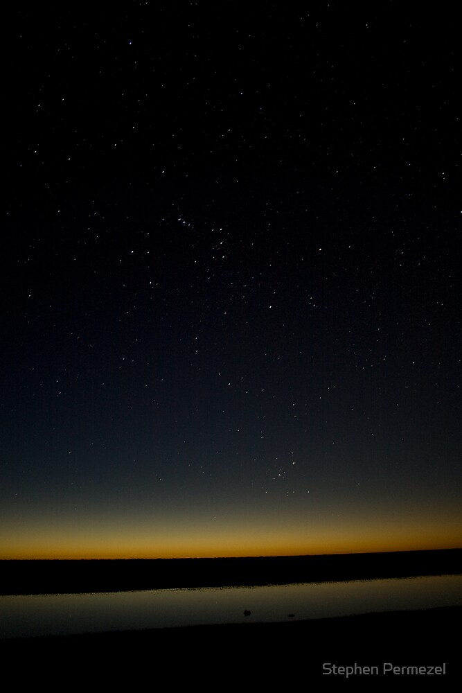 Orion's Leap - Lake Cadibarrawirracanna, South Australia by Stephen Permezel
