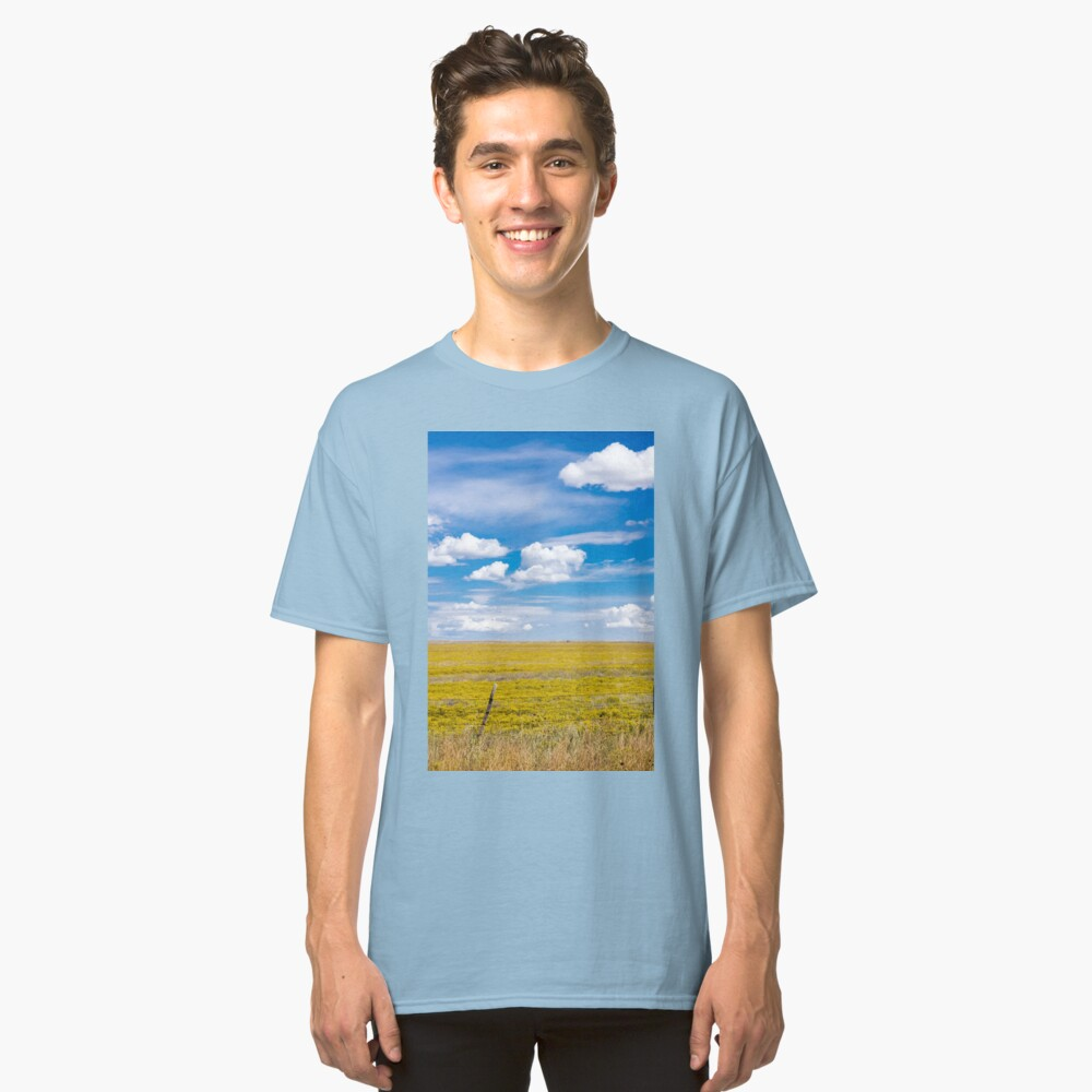 Yellow fields under blue cloudy sky Classic T-Shirt Front