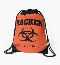 Computer Hacker T-Shirt - Black Biohazard Sign & Bash Fork Bomb Drawstring Bag