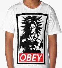 Obey super saiyan god cartoon popular anime muscle big workouting  Long T-Shirt