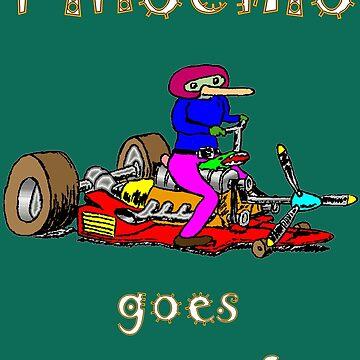 Pinochio Goes Streetsurfing T-shirt Design by muz2142