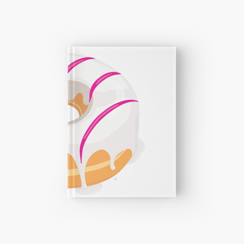 Creamy White Pink glazed Donut Hardcover Journal