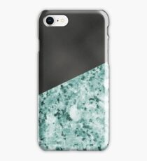 Polished granite verde - turquoise stone & black leather iPhone Case/Skin