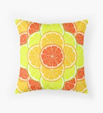 Orange, lemon and grapefruit slices. Throw Pillow