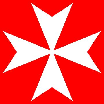 MALTA, Maltese, Amalfi Cross, Maltese cross, Knights Hospitaller, WHITE on RED by TOMSREDBUBBLE