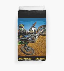 MOTOCROSS EXTREME: Motorcycle Racing Advertising Print Duvet Cover