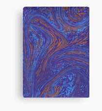 Marbled paper deep blue and orange Canvas Print
