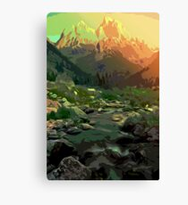 Welcome to Montana - Mountain Landscape Canvas Print