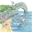 Seagulls Over Durdle Door by Maria Burns