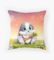 Schnuffel Bunny with carrot Throw Pillow