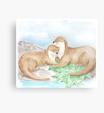 Otterly adorable otters Canvas Print