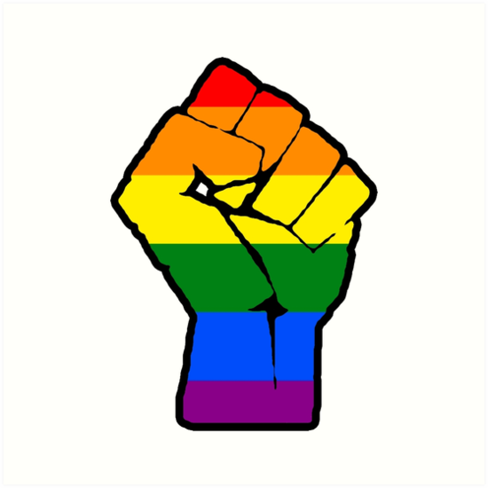 raised fist lgbt flag art prints by thealien redbubble