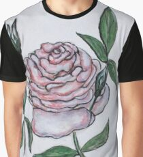 Pink And White Rose Graphic T-Shirt