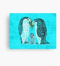Swirly Penguin Family Canvas Print