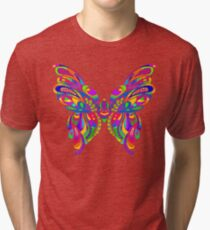 Bright and Colorful Abstract Butterfly Art Tri-blend T-Shirt