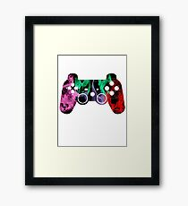 PlayStation Controller Pixelated Flame Design  Framed Print
