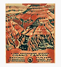 Grand Canyon National Park Vintage Travel Art Photographic Print