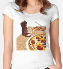 Yummy Pizza Time! Women's Fitted Scoop T-Shirt