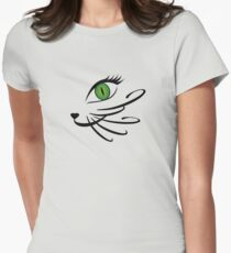 Cool Cat Face Cat Eyes Feline Pet Lovers Womens Fitted T-Shirt