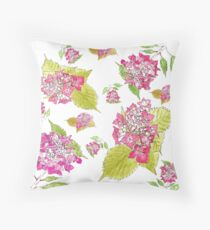 Summer pink hydrangeas  Throw Pillow