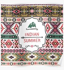 Navajo seamless colorful  tribal pattern with elementes quotes on labels Poster