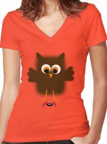 Owl-rachnophobia Women's Fitted V-Neck T-Shirt