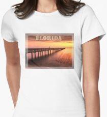 Sunset/sundusk over harbor Women's Fitted T-Shirt