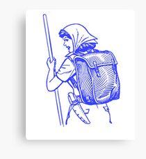 Cool Blue Retro Hiking Woman Canvas Print