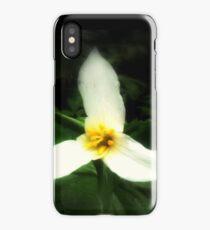 white trillium, dark background iPhone Case/Skin