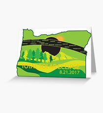 2017 Total Solar Eclipse Across Oregon Cities Map Illustration Greeting Card